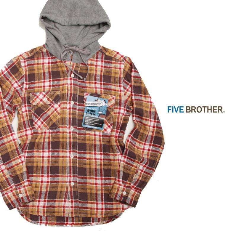 FIVE BROTHER ファイブブザー HEAVY FLANNEL HOODED SHIRTS 151961 ヘビーフランネルフーディッドシャツ フードシャツ ネルシャツ MUSTARD CHECK マスタードチェック