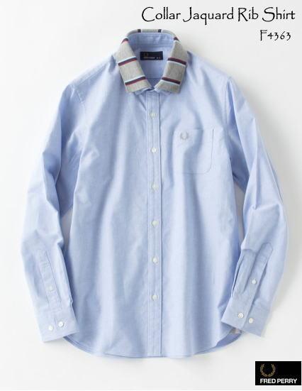 【フレッドペリー 衿取り外し可能なシャツ♪】Collar Jaquard Rib Shirt サックス ブルーシャツ FRED-PERRY F4363