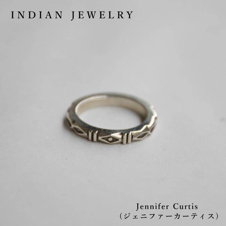 インディアンジュエリー シルバーリング RING Jennifer Curtis (ジェニファー カーティス) 希少 ナバホ族 Indian Jewelry リング 一点モノ 17.5号 ピンキーリング メンズ・レディース