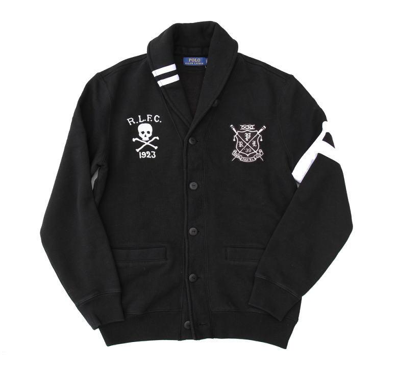 Polo Ralph Lauren ポロラルフローレン スウェットショールカラーカーディガン スウェットジャケット スカル 刺繍デザイン BLACK ブラック