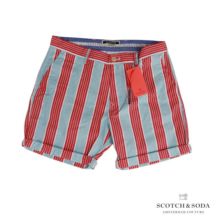 Scotch&Soda スコッチ&ソーダ チノショーツ CHINO SHORTS 水色×レッドストライプ ショート丈 148905