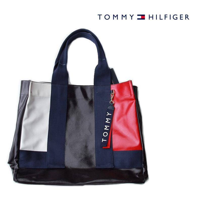 TOMMY HILFIGER (トミーヒルフィガー) NAVY アメリカ買い付け品 トートバッグ A4サイズもすっぽり入ります エナメル質感
