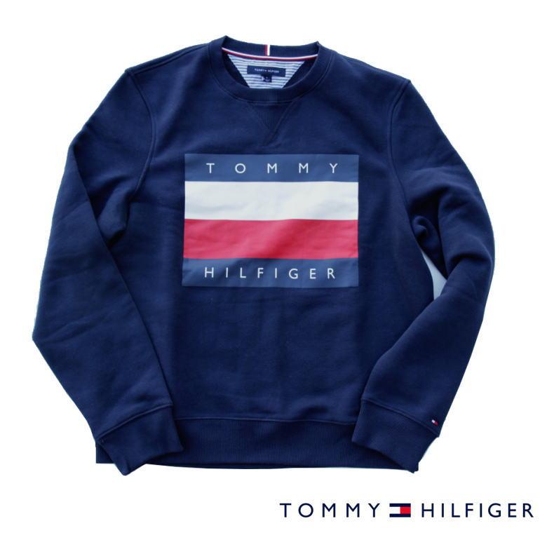 TOMMY HILFIGER トミーヒルフィガー スウェット トレーナー メンズ NAVY ネイビー 裏起毛 アメリカ買付品♪