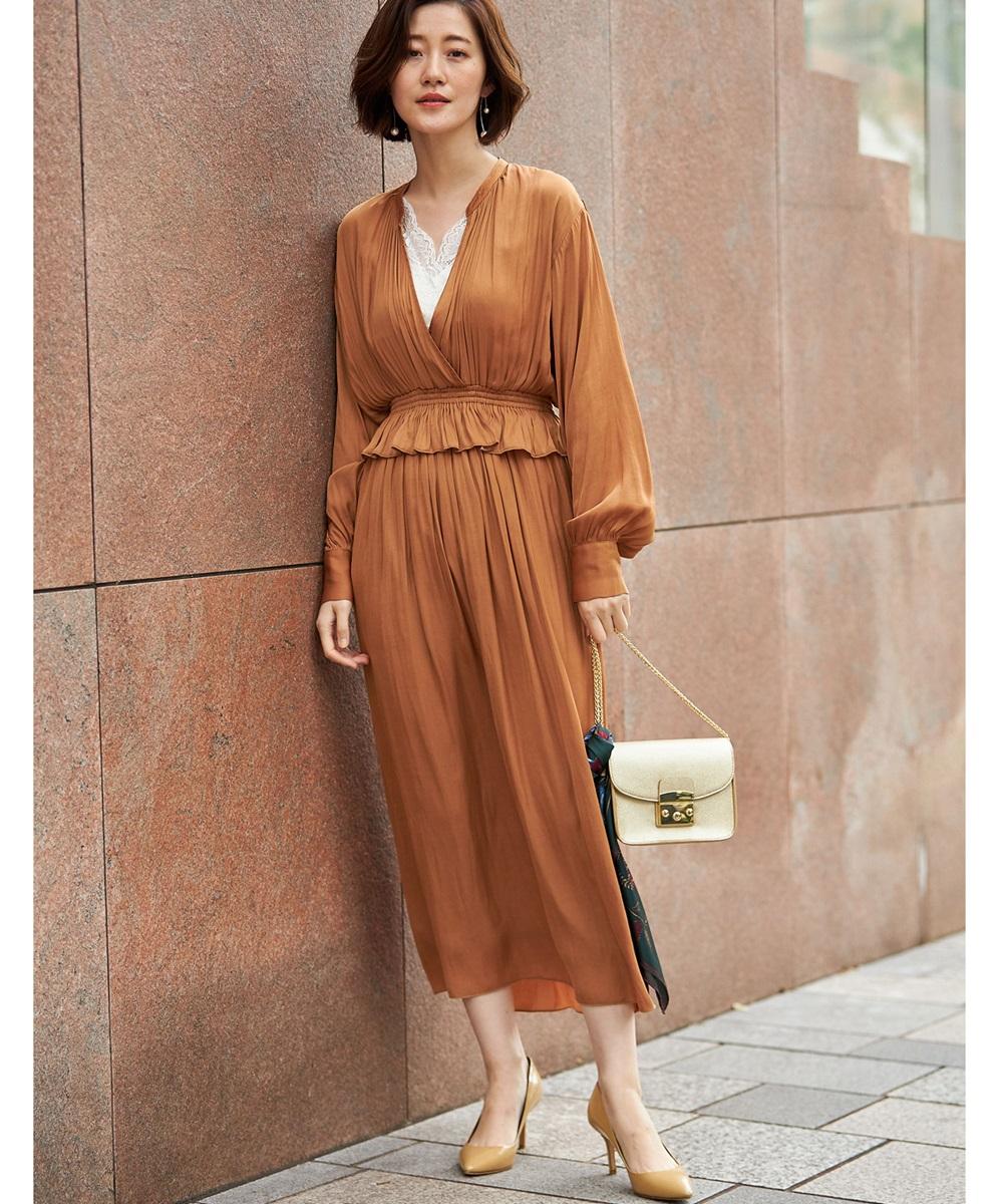 11月26日 午前10:00 新発売《@yun_wearさんコラボ》ヴィンテージサテンカシュクールマキシワンピース