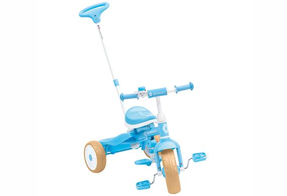 【2018年モデル RENAULT ルノー Tricycle(トライサイクル)】幼児三輪車 手押し棒のハンドルで進行方向をコントロールできるカジトリ機構・折りたたみ式ステップ・リアバスケットを装備