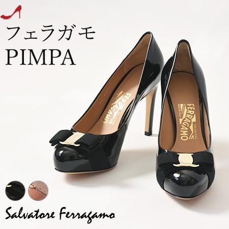 フェラガモ リボン パンプス エナメル レディース Salvatore Ferragamo 正規品 ブラック ピンク ベージュ 小さいサイズ 22cm 大きいサイズ 25cm 26cm