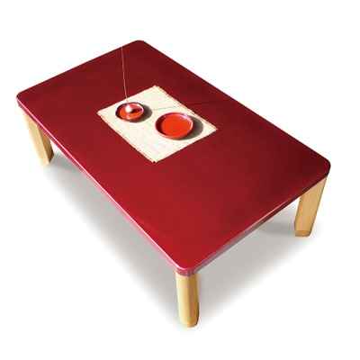 こたつテーブル GOTOH 120 赤い天板 漆塗り風塗装 民芸風テーブル 可愛い シンプルなこたつテーブル 折り畳み脚 折れ脚 継脚