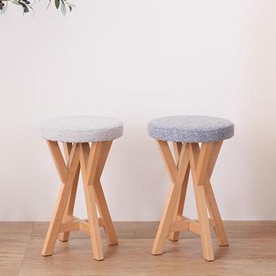 Y字脚のチェア やぐら型脚のチェア 丸い座面 スツール 北欧スタイル ナチュラルウッド 天然木 ライトグレー ブルー シンプルスタイル 丸椅子 新生活