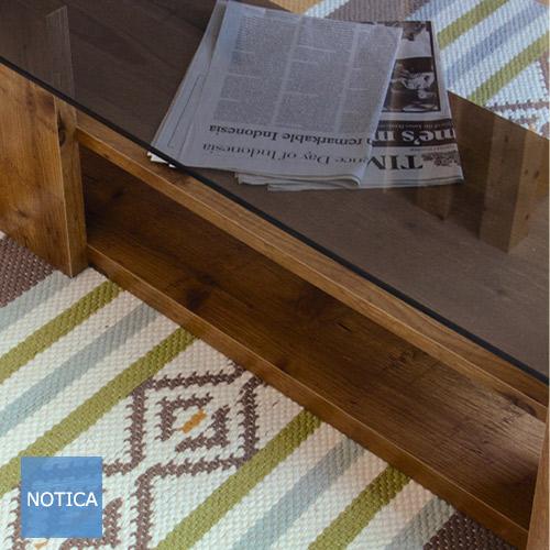 天然木×ガラス ガラス天板のセンターテーブル 8ミリ強化ガラス ソファーテーブル 幅100cm ブロック脚が重厚感を増します。 ガラステーブル ソファーテーブル 収納ができるセンターテーブル ナチュラルブラウン/ダークブラウン