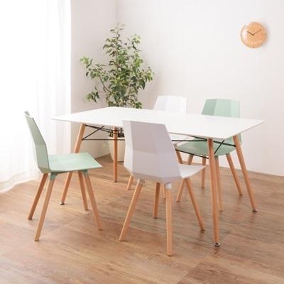シンプルデザインのダイニングテーブルセット 5点セット 机+椅子4脚の5点セット ホワイトカラーとナチュラルウッドの組み合わせ 4人で使える広々サイズ ホワイト ナチュラル カフェスタイル