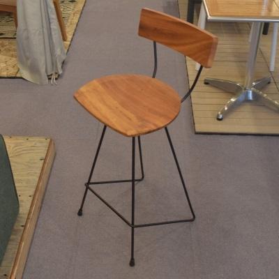 ウッドカウンターチェア ウッド 天然木 スチール ラウンド座面 円形座面 シンプル 椅子 ハイチェア
