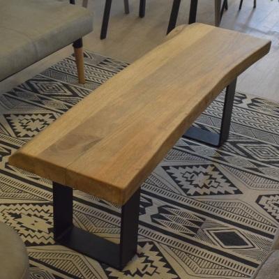 ウッド&スチールベンチ ブラックスチール 木製 マンゴー木材 天然木 アイアン家具 椅子 長椅子 ダイニングベンチ 食卓椅子 変形座面 アイアン家具