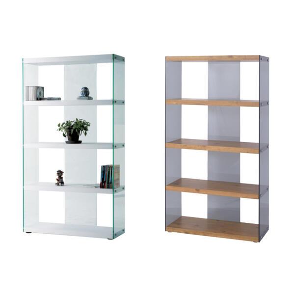 モダンデザインのシェルフ 食器棚 飾り棚 ウッドとマットホワイト アジャスター付き アクリル窓でおしゃれ 2種類から選べる クリア/ホワイト&ナチュラル ガラスのシェルフ モダンな作り