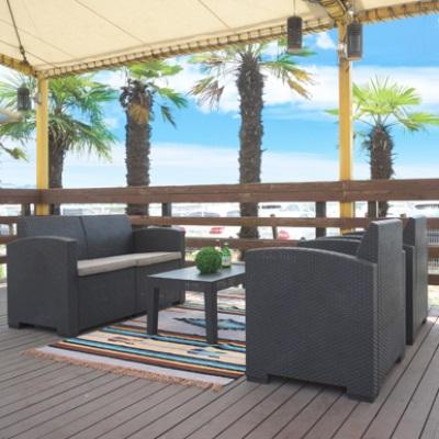 ガーデンリビングセット 4点セット ソファ チェア テーブル ブラック ベランダなどにも 夏向き 涼し気 ベランピング