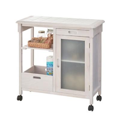 タイルトップシンプルワゴン 棚付き 扉付きワゴン コンパクト収納 可愛らしいデザイン ホワイト 白 白家具 リビング キッチン収納 キッチンワゴン 新生活