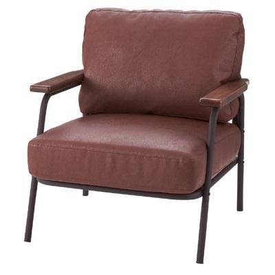 オットマン付きソフトレザーソファ ブラウン 優しい質感 スチール ウッド 1Pソファ リラックススタイル 快適なソファ