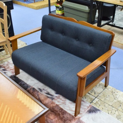 ウッドフレームが素敵なソファ ブラウン 2人掛け 天然木 グレー ブルー ソファクッション取り外し可能