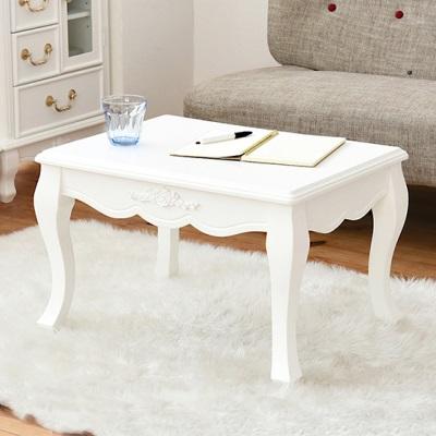 ホワイトミニテーブル 引き出し付きテーブル 可愛い猫脚テーブル 白 ホワイトカラー 姫系インテリア 引き出し付き ローテーブル 小さめ 猫脚