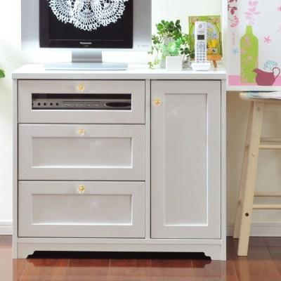 フェミニンミドルチェスト 収納 手ごろな大きさ 小物や雑誌など収納 天板コンセント付き リビングに キッチンにも 白 白家具 新生活