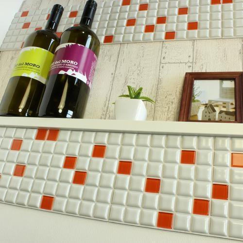 【普通のシール】ガラスミックスタイル モザイクタイル ガラス ランダムパターン 白タイル 玄関 リビング 家具や小物にも貼れる 本物のタイルシート 新生活