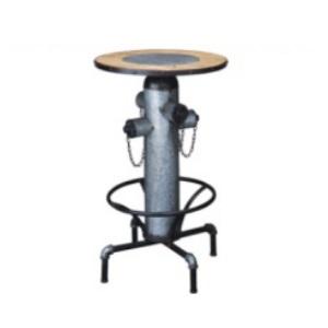カフェテーブル 配管風カウンターテーブル 天然木 スチール アイアン インダストリアル パイプ 杉 レトロなテイスト 什器 こだわりのテーブル 絵になるテーブル アイアン家具 おしゃれ 小型 天板 昇降式 珍しい