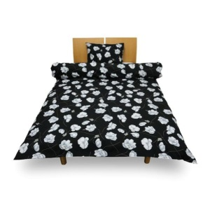 花模様ベッドカバー コンフォーターケース ダブルサイズ ブロード 綿100% 花の模様 ホワイト ブラック シンプル 自然素材