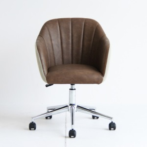 デスクチェア オフィスチェア 椅子 チェアー 昇降式 パソコンチェア 肘あり ワークチェア アームチェア モダン ブラウン ベージュ クロム キャスタ付き