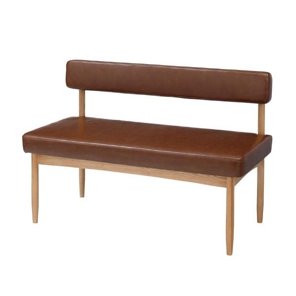 カフェ風ベンチチェア レザーテイスト 合皮 ブラウン 天然木 二人掛け 110size ナチュラル ベンチチェア 二人掛けベンチ 椅子 ダイニング リビングにも 可愛い シンプル おしゃれ