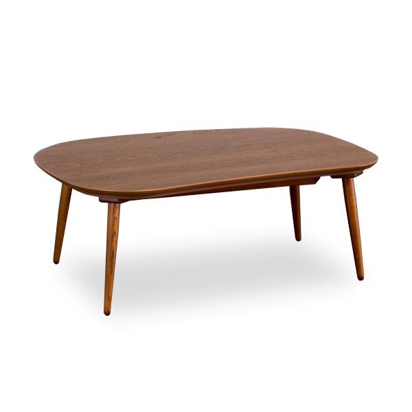 rasmoteak120 こたつテーブル 120サイズ 変形 チーク材 丸みのある形状 モダンな印象のテーブル 北欧 こたつ シンプル 木製 デザイン