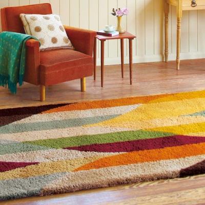 レトロパターンラグ 毛足の長いラグ ウォームカラー イエロー グリーン モダン シンプル ホットカーペット対応 防ダニ 絨毯 カーペット 敷物 こたつ敷きにもなる