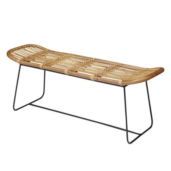 ラタンのベンチ アイアンレッグ アジアンテイスト 涼し気スタイル 異素材の組み合わせが心地よい 夏向き
