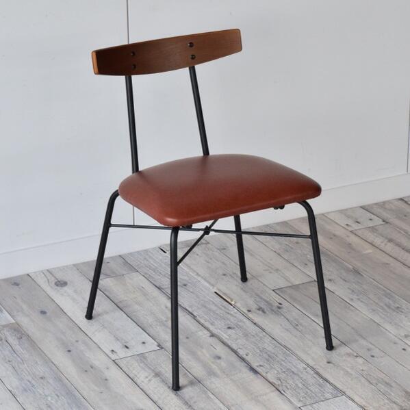 カフェスタイル アイアン製1Pチェア ブラウン色 ダイニングチェア カフェチェア アイアン×木材×レザー スタイリッシュ インダストリアル スチールフレーム シンプル デスクチェア おしゃれ 椅子 ブルックリン チェアー 北欧 パーソナルチェア 椅子 レザータッチ
