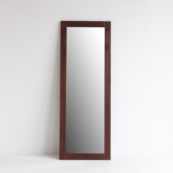 大き目ブラウンの姿見ミラー 鏡 高さ170cm ジャンボミラー 木製 ブラウン 全身鏡 大型ミラー スリムな横幅 ミッドセンチュリー 北欧