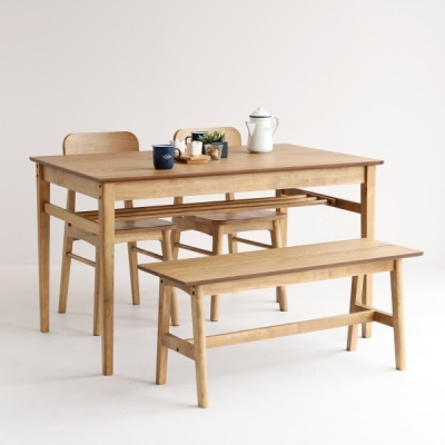棚板付きダイニングテーブルセット テーブル一台とチェア二脚とベンチ一脚のセット 4点セット ソフトビンテージスタイル 懐かしさを感じるスタイル ダイニングテーブル レトロ 新生活