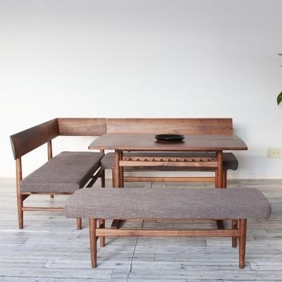 アーブル ダイニングテーブルセット テーブルとベンチ3種の4点セット くつろぎスタイル ブラウン 足元の空間が広い 素材感のある仕上がり ウォールナット材 ダイニング リビング シンプルだけどスタイリッシュ