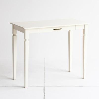 ホワイトカラーのスリムデスク スペースを取らない省サイズデスク 書斎 机 勉強机 作業机 可愛いホワイトカラー ガーリースタイル 丸みのあるフォルム