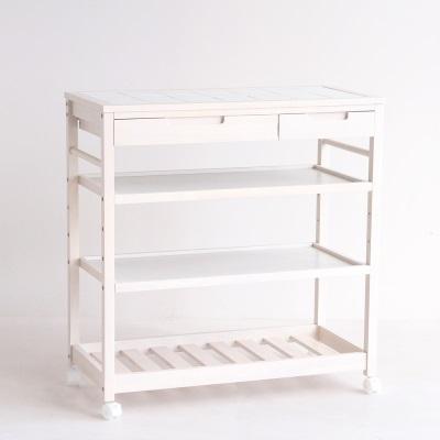 棚付きタイルトップキッチンワゴン ワイド キッチンの収納に活躍する キャスター ワゴン収納 ウッド ホワイト カートワゴン シンプル 木製 白 白家具 新生活