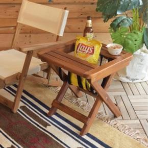 アカシア材サイドテーブル 折り畳み式 持ち運びも簡単なサイドテーブル ストックがあって便利