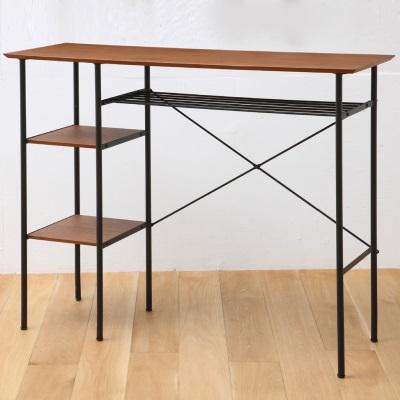 ウッドとスチールのカウンターデスク ブラウン ブラック シンプルスタイル テーブル カウンター 背が高め シンプル スマート スリム 新生活