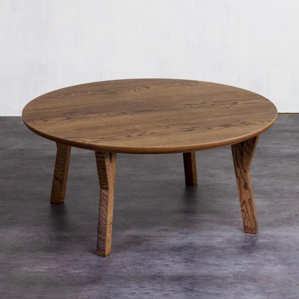 円形 ラグタイム 105 ブラウンのこたつテーブル 取り回しやすい円形タイプ 可愛い Y字の脚 丸いこたつ 北欧 ヴィンテージテイスト ちゃぶ台 丸型 昭和レトロ