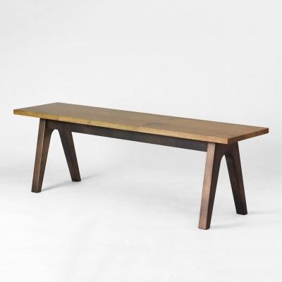 錆び風塗装のベンチ オーク木材 ブロンズ塗装 ウレタン塗装 天然木 ウッドだけどアイアンのような脚 力強いオーク材