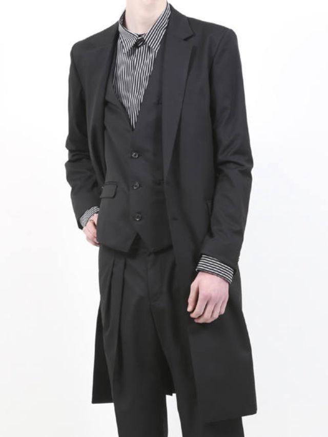 【GalaabenD / ガラアーベント】 ドライギャバジンストレッチ2Bロングテーラードジャケット - BLACK