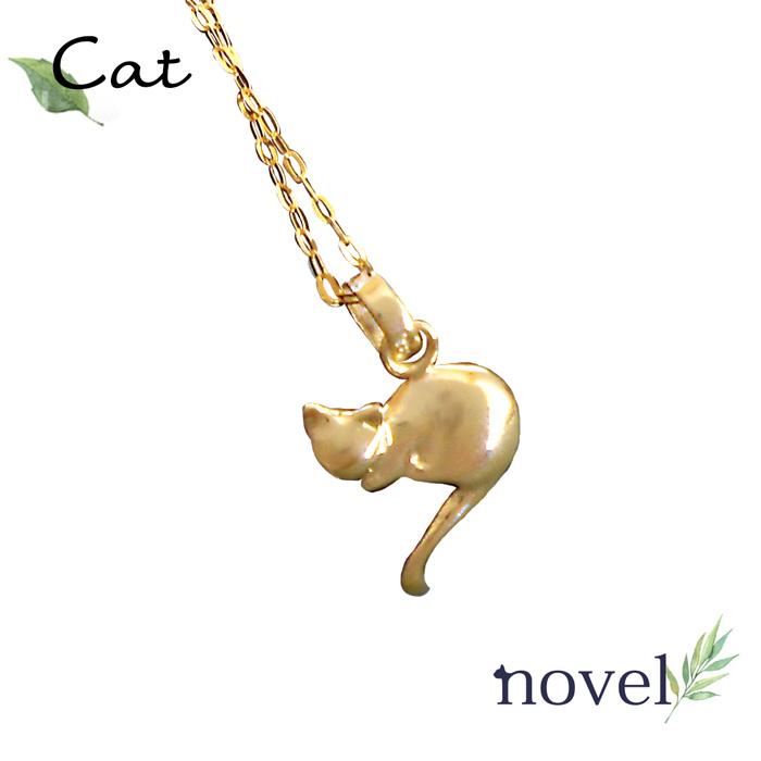 HINATA猫K10YGPGネックレス猫ジュエリー猫ペンダント猫ネックレス レディース誕生日プレゼント 猫アクセサリー novel ノベル