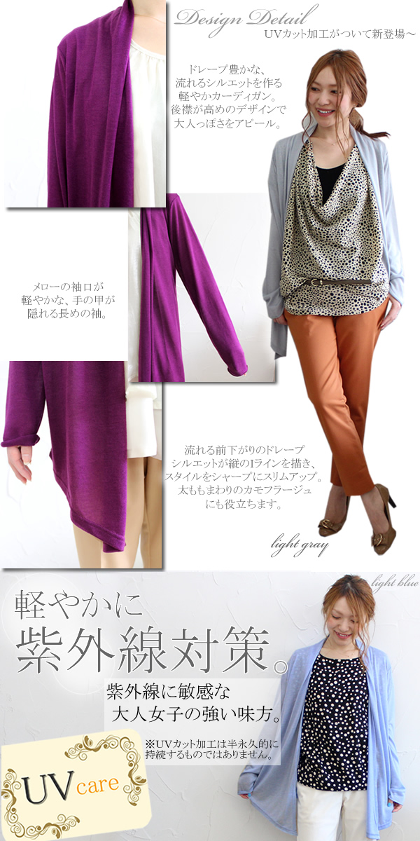 ◆It is ultraviolet rays measures by Lady's cardigan ◆ UV care of Rakuten winning prize ★ mix-and-match and the color development that breathes it, and is basic lightly! Slim stretch mesh drape cardigan