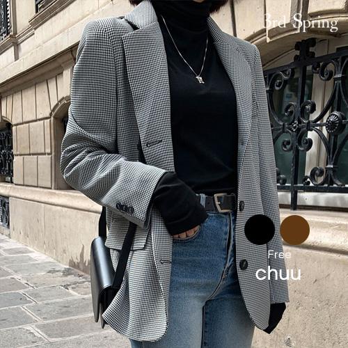 【アウターSALE】CHUU(チュー)千鳥柄ジャケット【10/28up_mo】【送料無料】韓国 韓国ファッション ジャケット アウター ライトアウター ジャケット レディース ファッション【10】※メール便不可