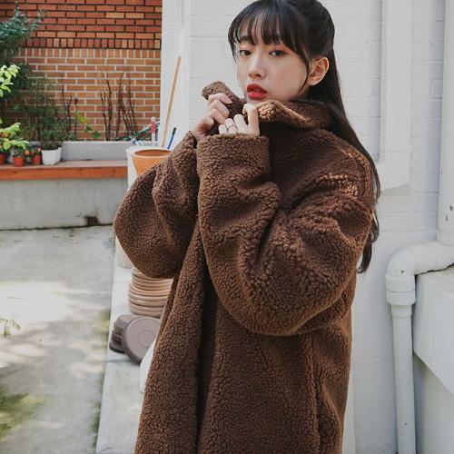 SONYUNARA(ソニョナラ)ボアコート【送料無料】韓国 韓国ファッション もこもこ コート 黒 ボリュームアウター カジュアル アウター 冬 防寒 ファッション【あす楽】