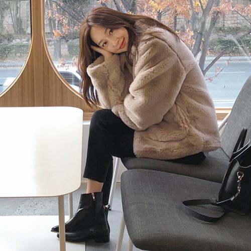 UPTOWNHOLIC(アップタウンホリック)ファージャケット【送料無料】韓国 韓国ファッション ジャケット ファー ファージャケット 襟 ポケット ボアジャケット コート ファッション【あす楽】※メール便不可