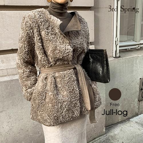 【アウターSALE】JULL-LOG(ジュローグ)ウエストマークもこもこジャケット【11/14up_mo】【送料無料】韓国 韓国ファッション もこもこアウター ノーカラー コート 冬 アウター グレージュ ドロストデザイン スエード ムスタンジャケット ナンニング レディース【5】
