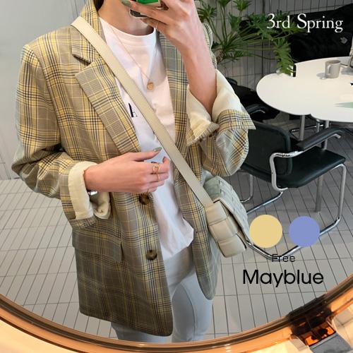 MAYBLUE(メイブルー)スプリングチェックジャケット【2/27up_mo】韓国 韓国ファッション ジャケット ライトアウター テーラード チェックジャケット チェック柄レディース ファッション【5】※メール便不可