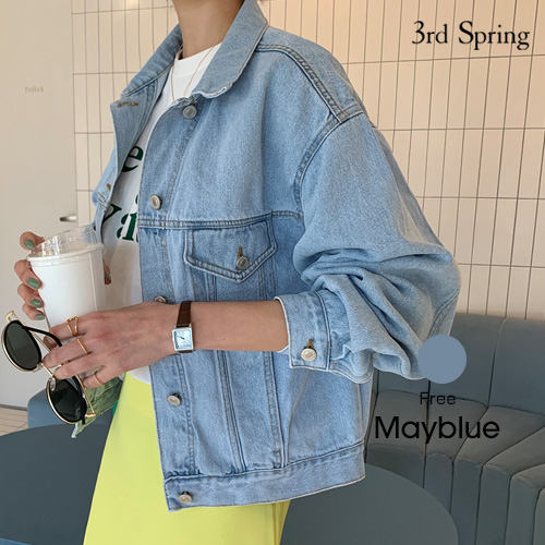MAYBLUE(メイブルー)淡色デニムジャケット【3/4up_mo】韓国 韓国ファッション ジャケット Gジャン 淡色 デニムジャケット ライトアウターレディース ファッション【5】※メール便不可